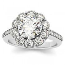 Diamond Floral Halo Engagement Ring Setting Platinum (1.00ct)