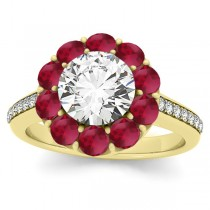 Diamond & Ruby Floral Round Halo Engagement Ring Setting 14k Yellow Gold (1.00ct)