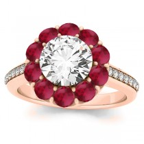 Diamond & Ruby Floral Round Halo Engagement Ring Setting 18k Rose Gold (1.00ct)