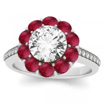 Diamond & Ruby Floral Round Halo Engagement Ring Setting 18k White Gold (1.00ct)