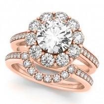 Floral Design Round Halo Bridal Set 14k Rose Gold (2.73ct)