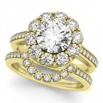 Floral Design Round Halo Bridal Set 14k Yellow Gold (2.73ct)