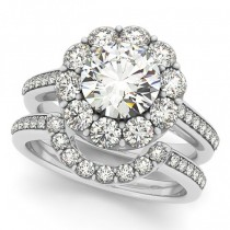 Floral Design Round Halo Bridal Set Platinum (2.73ct)
