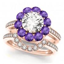 Floral Design Round Halo Amethyst Bridal Set 14k Rose Gold (2.73ct)