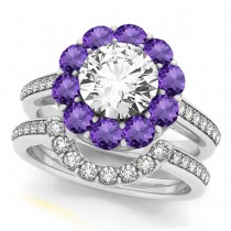 Floral Design Round Halo Amethyst Bridal Set 14k White Gold (2.70ct)