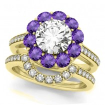 Floral Design Round Halo Amethyst Bridal Set 14k Yellow Gold (2.73ct)