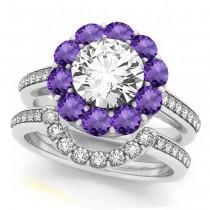 Floral Design Round Halo Amethyst Bridal Set Platinum (2.73ct)