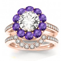 Diamond & Amethyst Floral Halo Bridal Set Setting 14k Rose Gold (1.23ct)