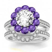 Diamond & Amethyst Floral Halo Bridal Set Setting 14k White Gold (1.23ct)