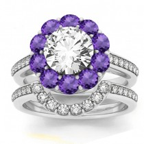 Diamond & Amethyst Floral Halo Bridal Set Setting Palladium (1.23ct)