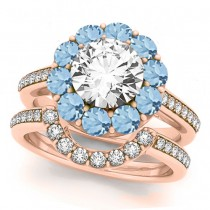 Floral Design Round Halo Aquamarine Bridal Set 18k Rose Gold (2.73ct)