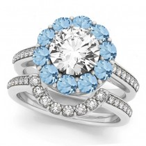 Floral Design Round Halo Aquamarine Bridal Set 18k White Gold (2.73ct)
