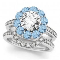 Floral Design Round Halo Aquamarine Bridal Set 18k White Gold (2.73ct)