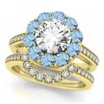 Floral Design Round Halo Aquamarine Bridal Set 18k Yellow Gold (2.73ct)
