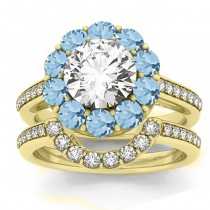 Diamond & Aquamarine Floral Halo Bridal Set Setting 14k Yellow Gold (1.23ct)
