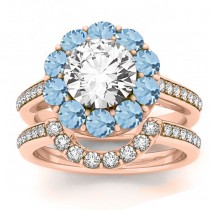 Diamond & Aquamarine Floral Halo Bridal Set Setting 18k Rose Gold (1.23ct)