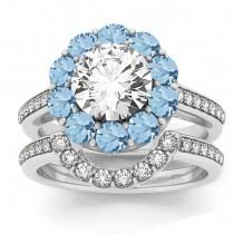 Diamond & Aquamarine Floral Halo Bridal Set Setting 18k White Gold (1.23ct)
