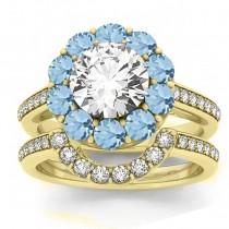 Diamond & Aquamarine Floral Halo Bridal Set Setting 18k Yellow Gold (1.23ct)