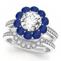 Floral Diamond Halo Blue Sapphire Bridal Set 14k White Gold (2.70ct)