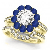 Floral Design Round Halo Blue Sapphire Bridal Set 14k Yellow Gold (2.73ct)