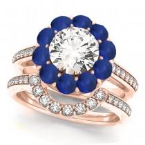 Floral Design Round Halo Blue Sapphire Bridal Set 18k Rose Gold (2.73ct)