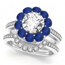 Floral Design Round Halo Blue Sapphire Bridal Set 18k White Gold (2.73ct)