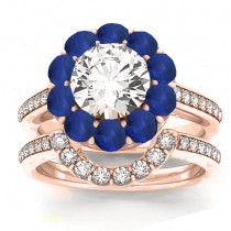 Diamond & Blue Sapphire Floral Bridal Set Setting 14k Rose Gold (1.23ct)
