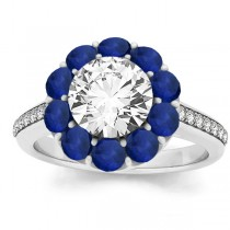 Diamond & Blue Sapphire Floral Bridal Set Setting 14k White Gold (1.23ct)
