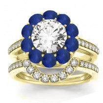 Diamond & Blue Sapphire Floral Bridal Set Setting 18k Yellow Gold (1.23ct)