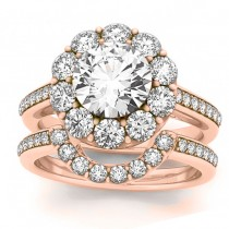 Diamond Floral Round Halo Bridal Set Setting 14k Rose Gold (1.23ct)
