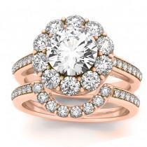 Diamond Floral Round Halo Bridal Set Setting 18k Rose Gold (1.23ct)