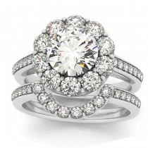 Diamond Floral Round Halo Bridal Set Setting 18k White Gold (1.23ct)