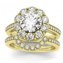 Diamond Floral Round Halo Bridal Set Setting 18k Yellow Gold (1.23ct)