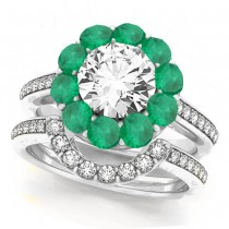 Floral Design Round Halo Emerald Bridal Set 14k White Gold (2.70ct)