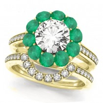 Floral Design Round Halo Emerald Bridal Set 14k Yellow Gold (2.73ct)