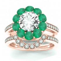 Diamond & Emerald Floral Halo Bridal Set Setting 14k Rose Gold (1.23ct)