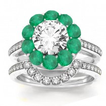 Diamond & Emerald Floral Halo Bridal Set Setting 18k White Gold (1.23ct)