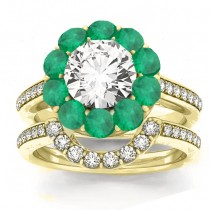 Diamond & Emerald Floral Halo Bridal Set Setting 18k Yellow Gold (1.23ct)
