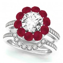 Floral Design Round Halo Ruby Bridal Set 14k White Gold (2.70ct)