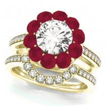 Floral Design Round Halo Ruby Bridal Set 14k Yellow Gold (2.73ct)