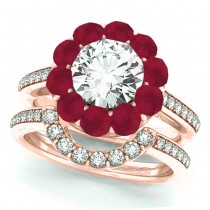 Floral Design Round Halo Ruby Bridal Set 18k Rose Gold (2.73ct)