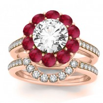 Diamond & Ruby Floral Halo Bridal Set Setting 18k Rose Gold (1.23ct)