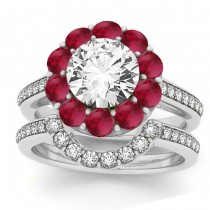 Diamond & Ruby Floral Halo Bridal Set Setting 18k White Gold (1.23ct)