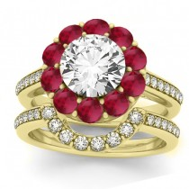 Diamond & Ruby Floral Halo Bridal Set Setting 18k Yellow Gold (1.23ct)