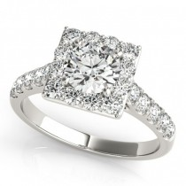 Diamond Halo Square Border Engagement Ring 14k White Gold (3.05ct)
