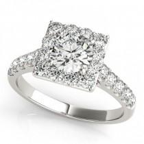 Diamond Halo Square Border Engagement Ring 14k White Gold (3.05ct)