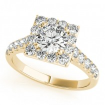 Diamond Halo Square Border Engagement Ring 14k Yellow Gold (3.05ct)