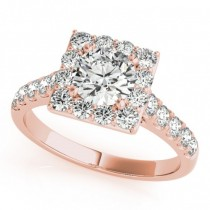 Diamond Halo Square Border Engagement Ring 18k Rose Gold (3.05ct)