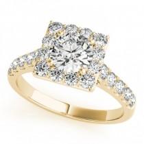 Diamond Halo Square Border Engagement Ring 18k Yellow Gold (3.05ct)