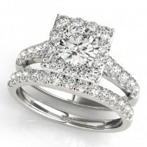 Diamond Halo Square Shape Border Bridal Set 14k White Gold (3.28ct)